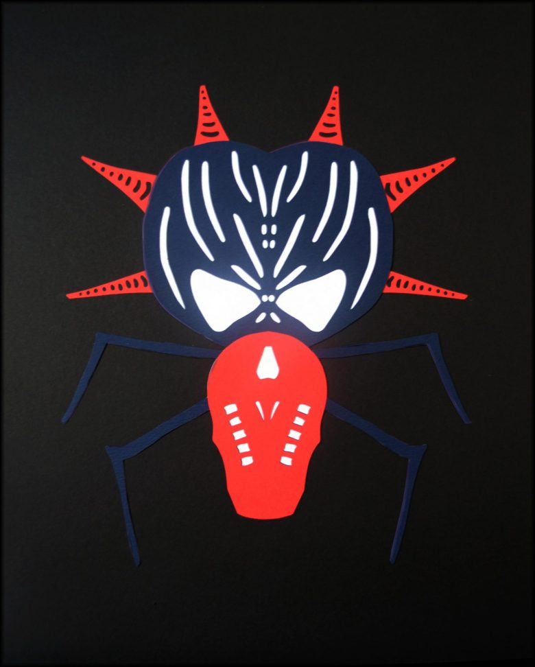 Paper cut art based on Red Riding Hood, depicting grandma as a spider, a weaver.