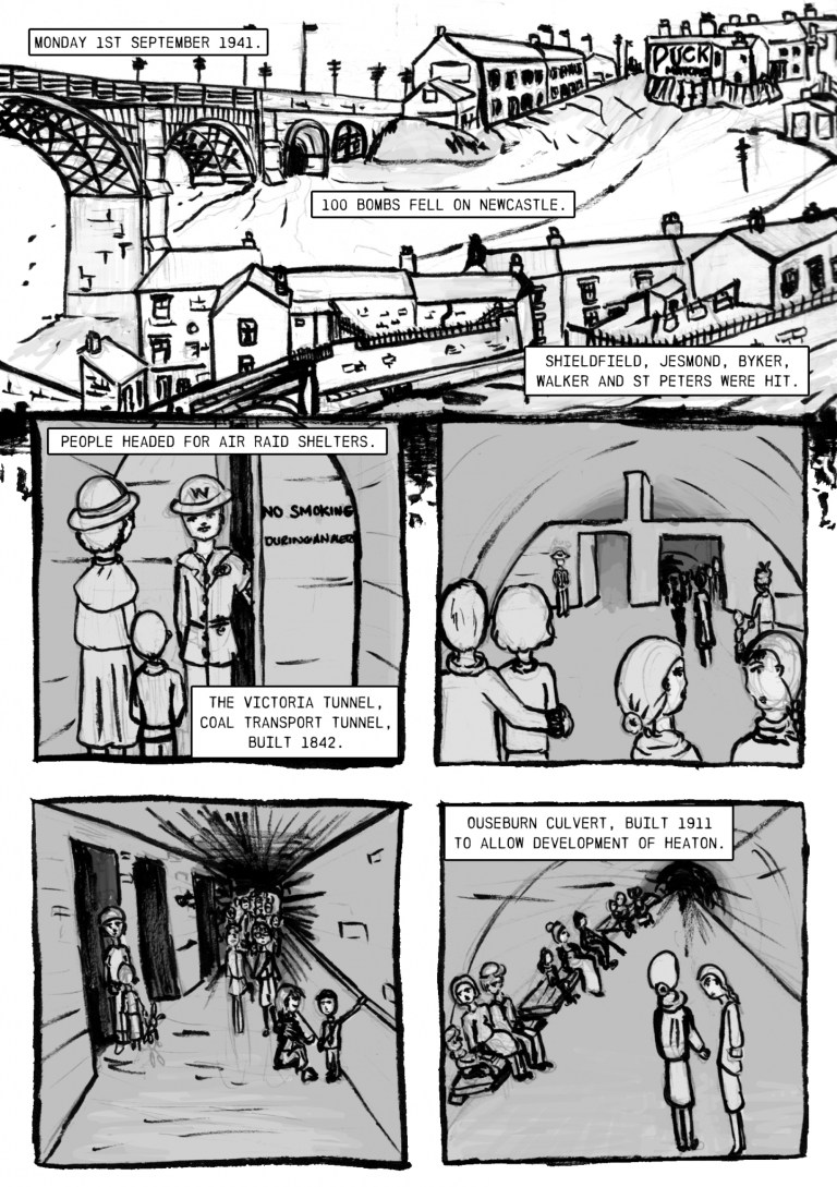 Newcastle Stories comic titled monday 1st september 1941 - a Newcastle air raid shelter in the Ouseburn during World War 2- page 1