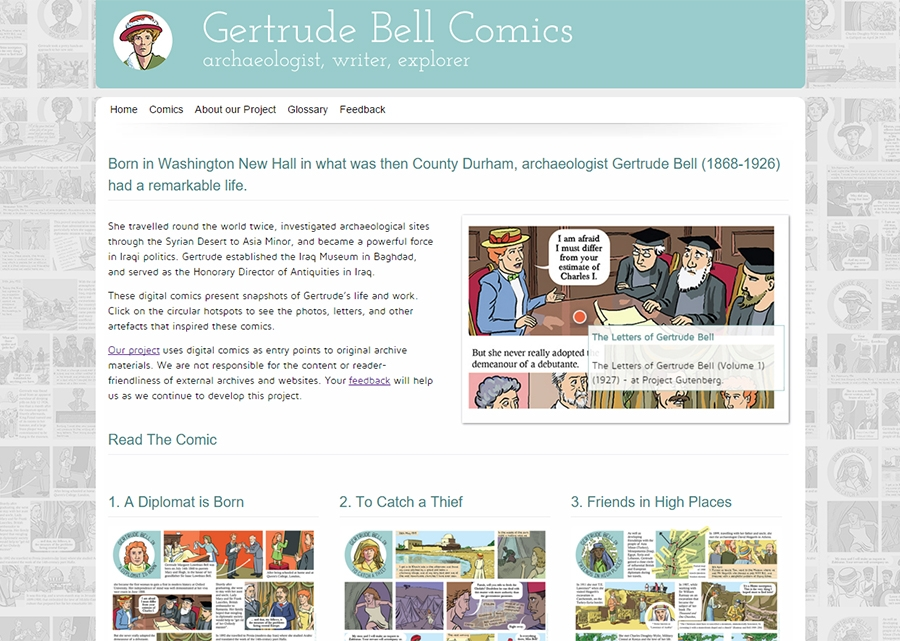 Gertrude Bell Comics Website, showing the home page.