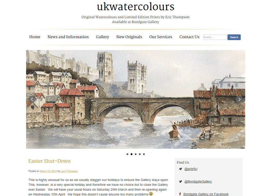 ukwatercolours website screenshot showing the homepage