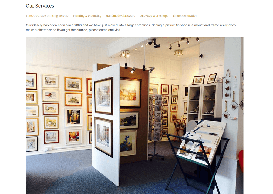 ukwatercolours website screenshot showing the services page with a photo of Bondgate Gallery, the bricks and mortar shop for Eric Thompson's paintings