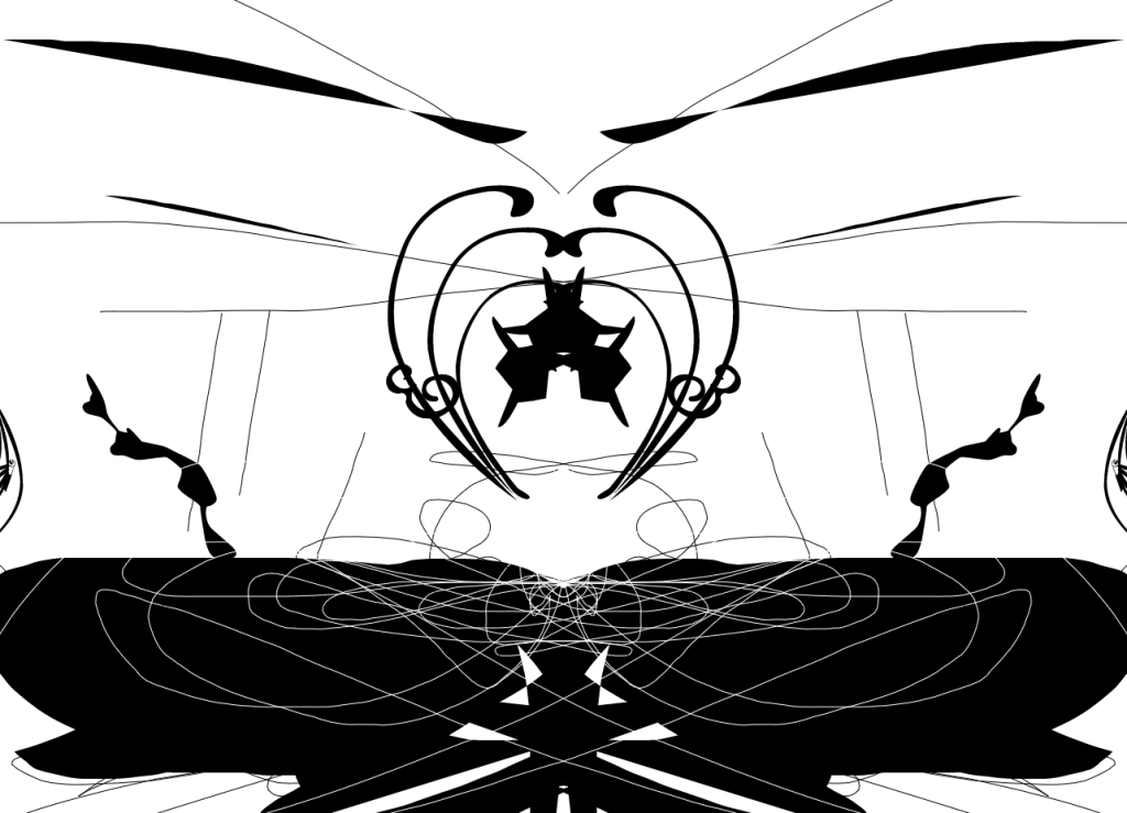 An experimental piece that resembles a figure floating above a lake in a cave.