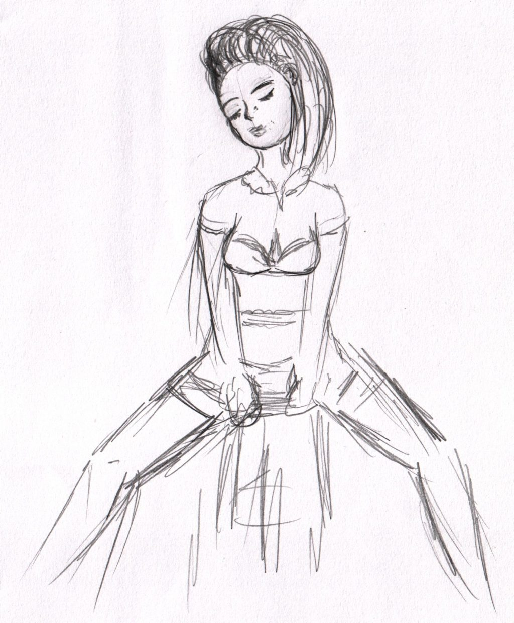 A sketch of a woman posed with legs open on a stool.