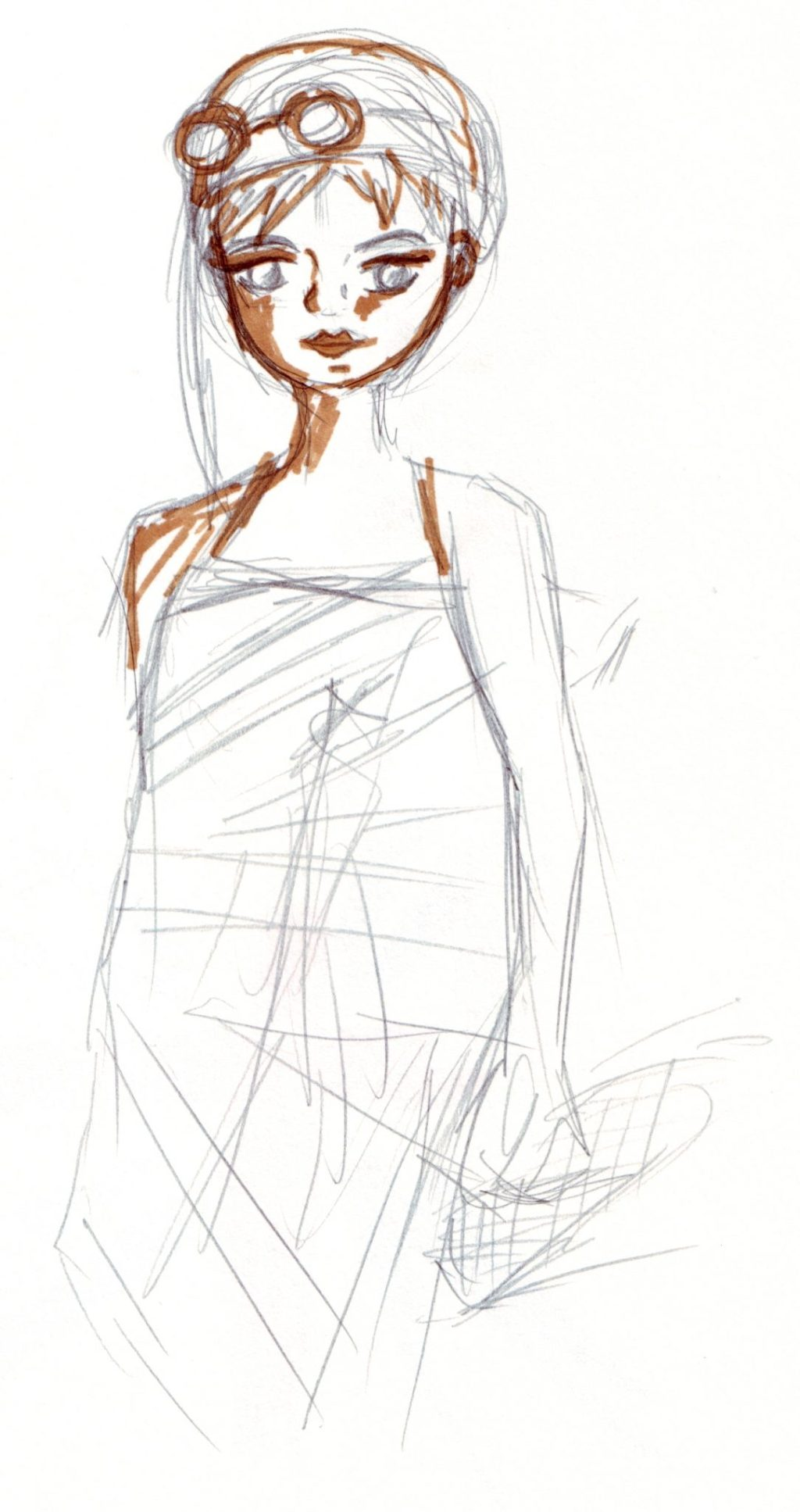 A sketch of a woman draped in fabric wearing a helmet and goggles.