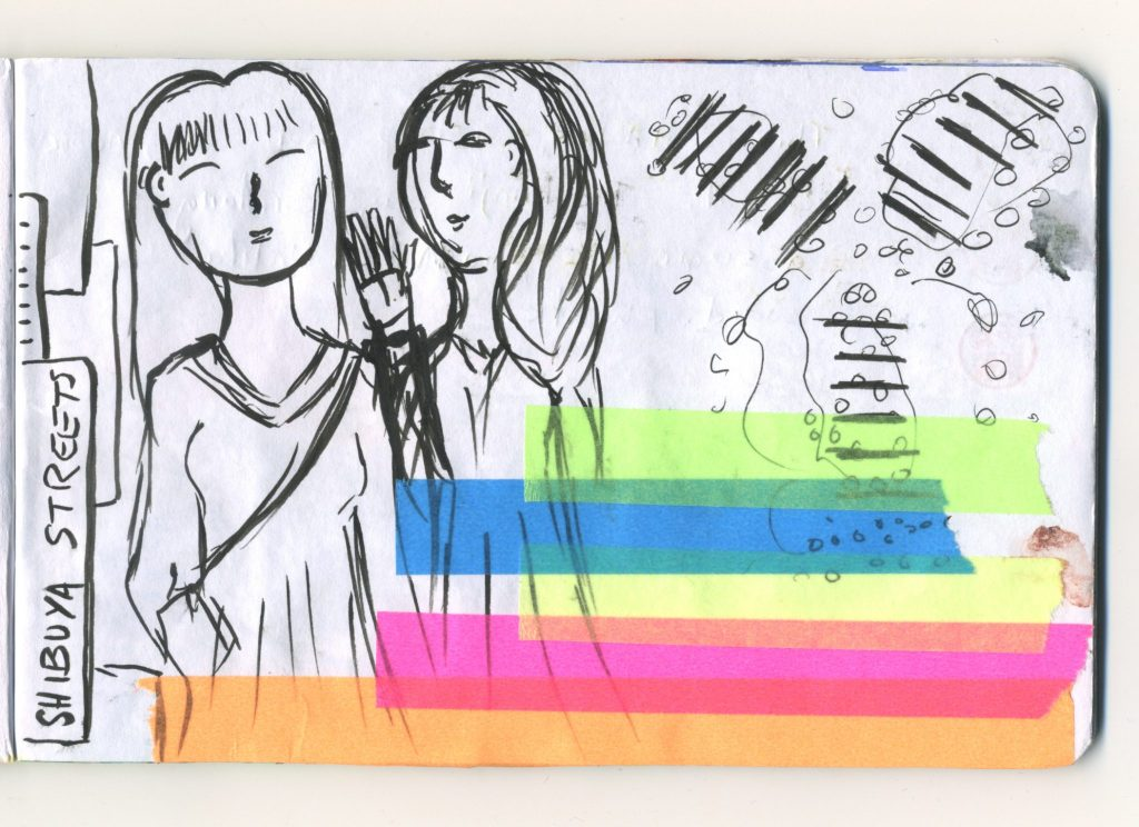 A journal sketch of Shibuya, two women posing for a photograph and a drawing of the large crossings behind them, the people drawn as little clusters of circles crossing the road.