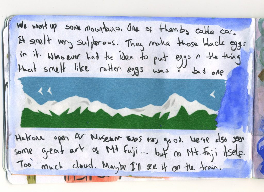 A journal sketch using Washi Tape of mountains bought while in Japan.