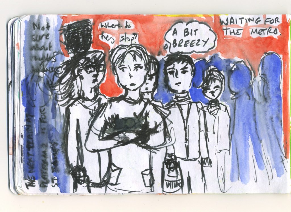 A watercolour sketch of a crowd waiting for the Metro.