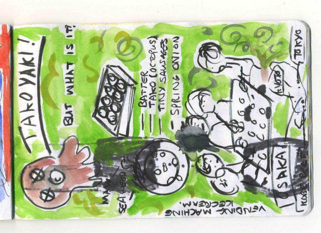 A watercolour sketch of a Takoyaki party.