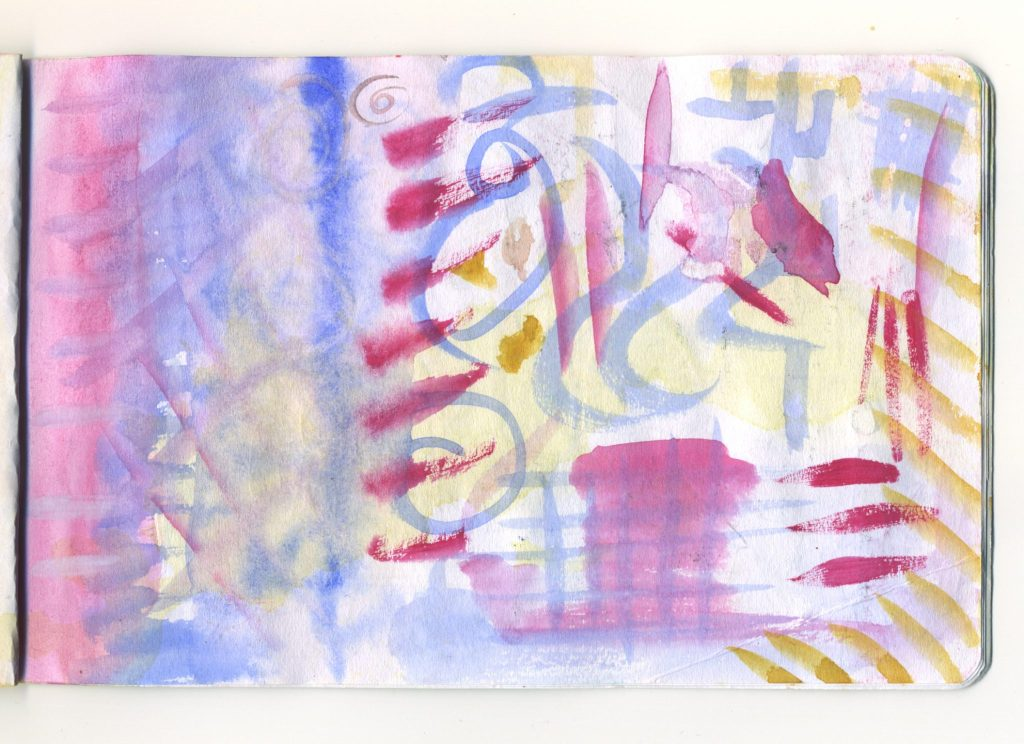 A page of watercolour mark making.