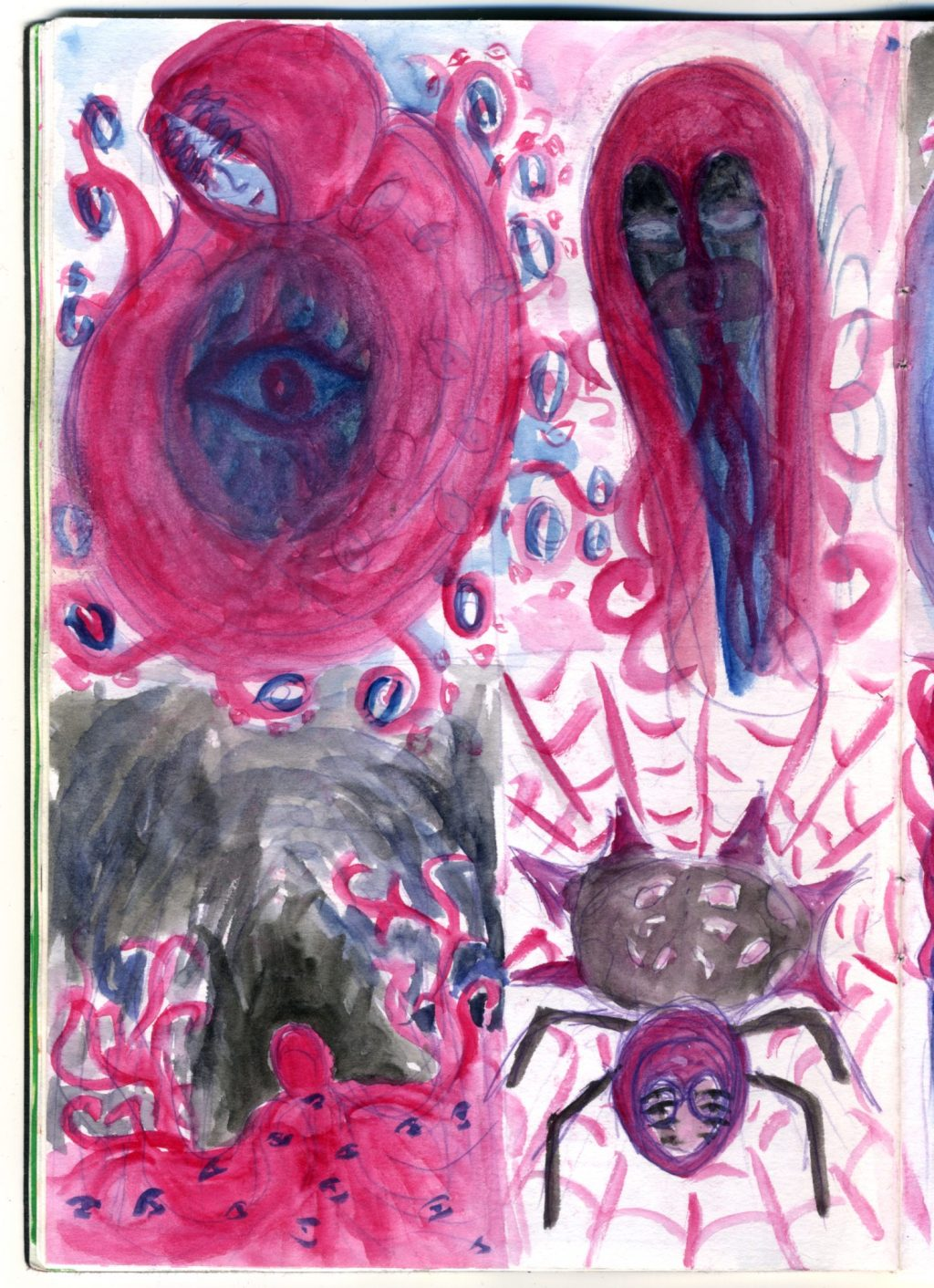 A watercolour sketch of creatures based on the Little Red Riding Hood fairytale.
