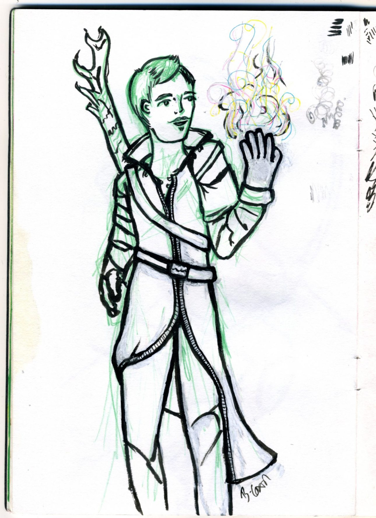 A brush pen sketch of Dorian Pavus from Dragon Age: Inquisition.