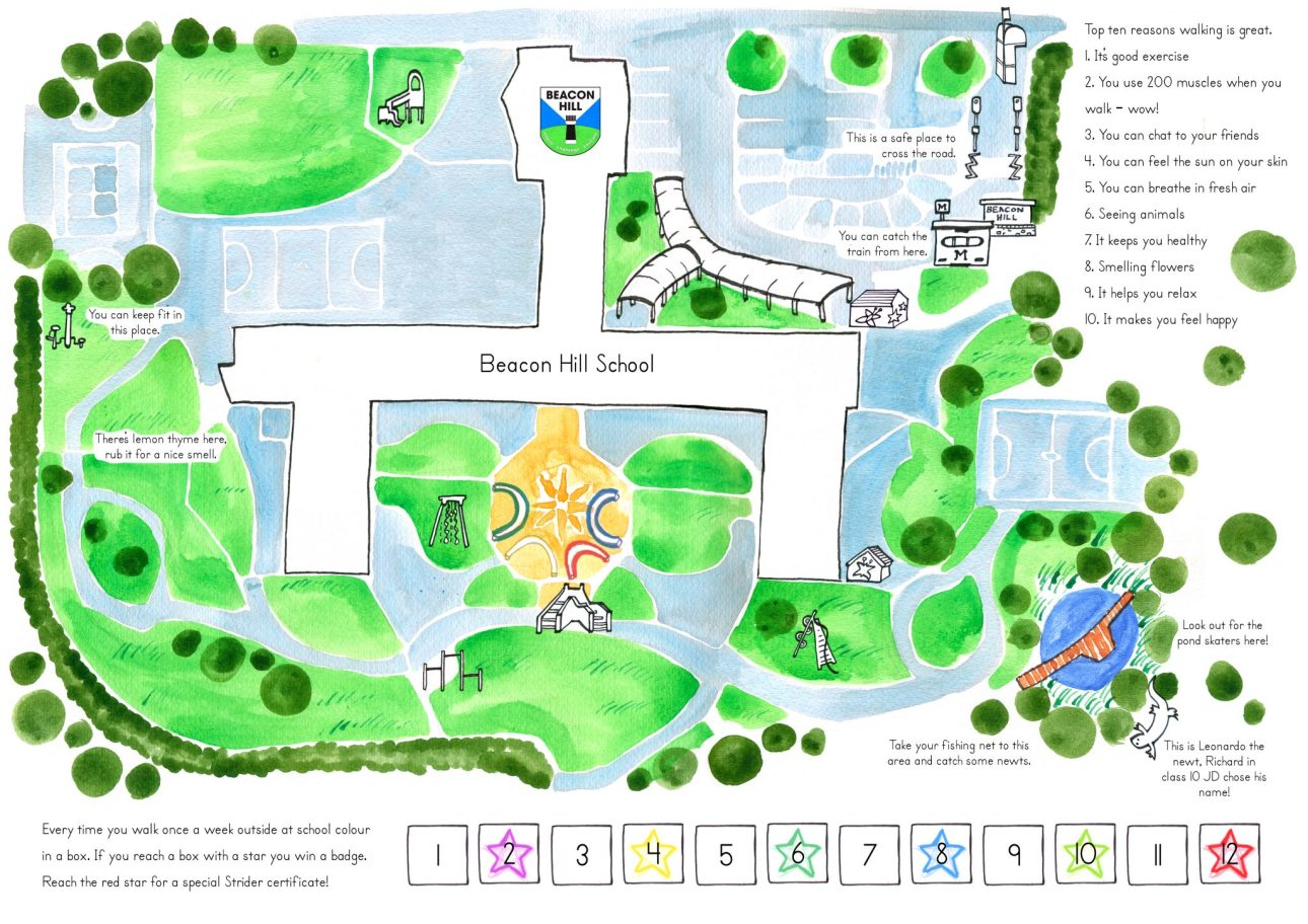 A map of Beacon Hill school for use by the students, showing areas of play and a completion chart by Mike Duckett.