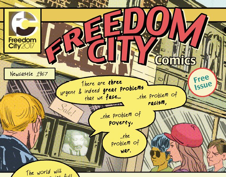 An extract from the front cover of Freedom City Comics.