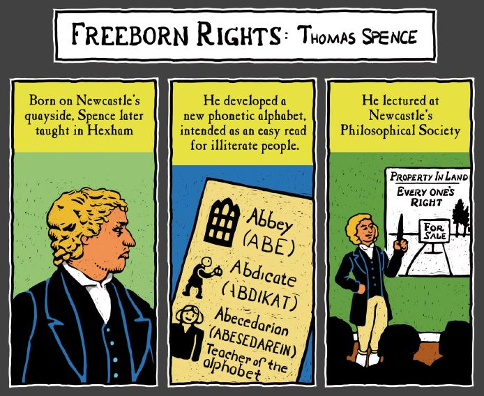 An extract from Freedom City Comics about Thomas Spence.