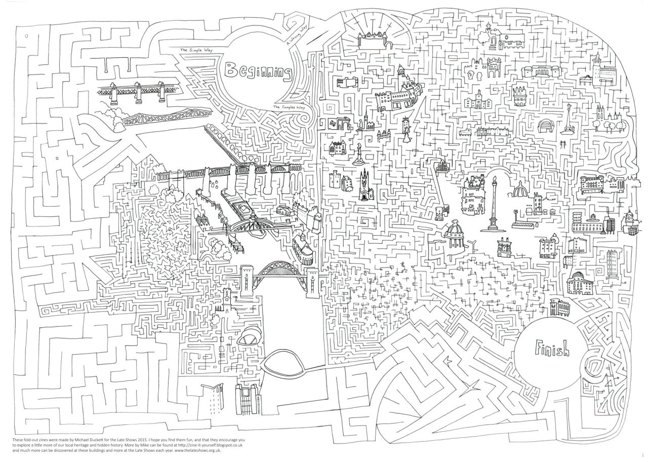 A maze illustration by Mike Duckett based around Newcastle's city centre, created for the Late Shows.
