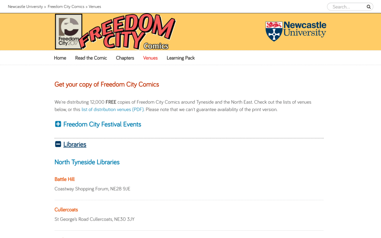 A furtheer screenshot of the venues page from Freedom City Comics website showing the expanded info area.