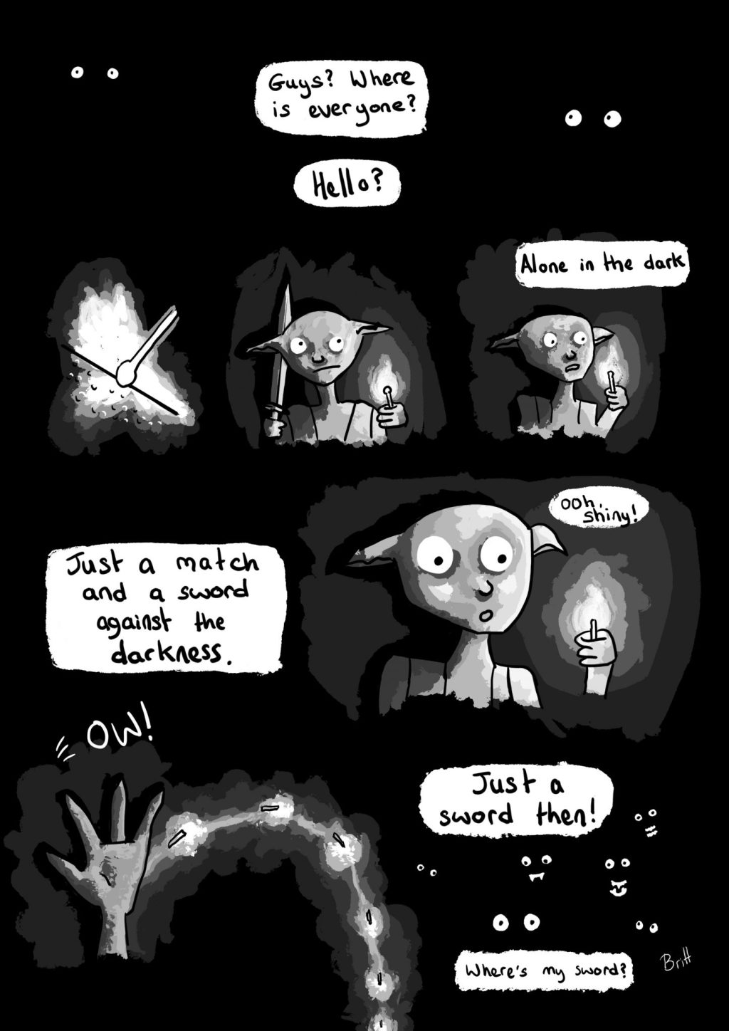 Darkness comic page, a comic about being alone in the dark. Alone? Perhaps not.