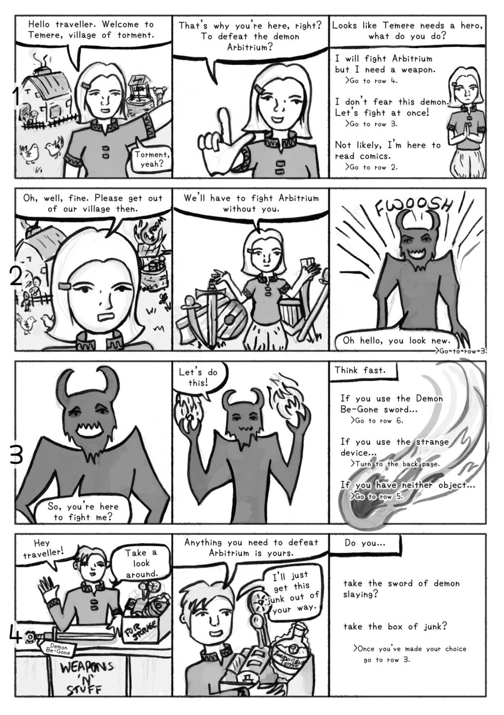 Choose Your Own Bad Decision comic page 1, a comic about how YOU can save a town.
