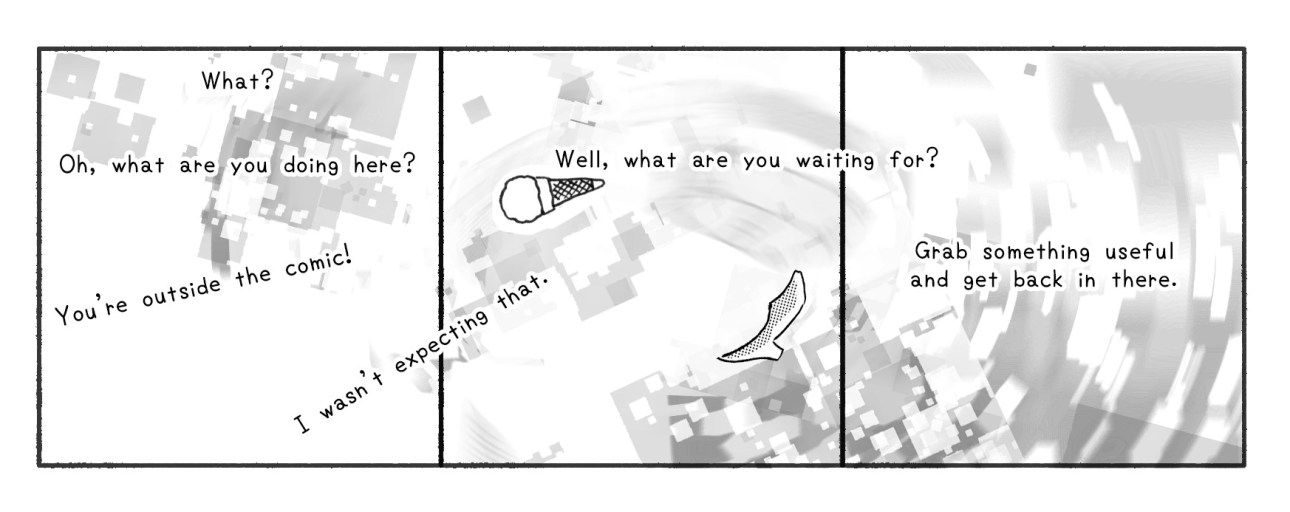 Choose Your Own Bad Decision comic page 3, , a comic about how YOU can save a town. These three panels appeared outside of the comic.