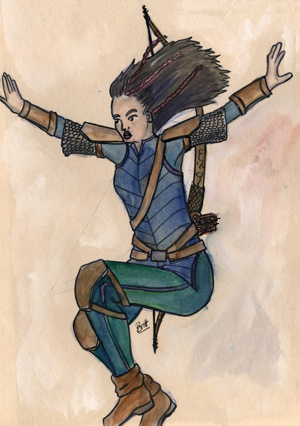 Berna, one of my D&D characters, a ranger jumping from a height.