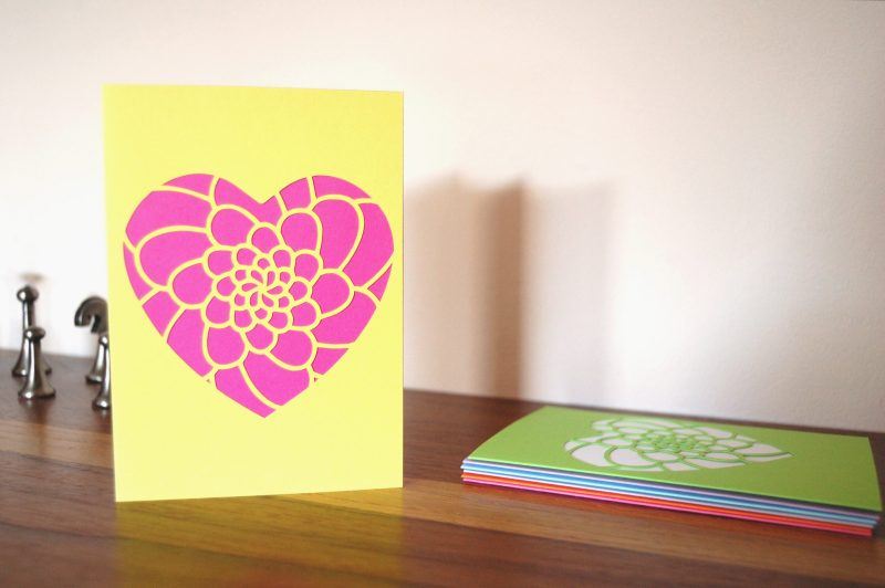 Mini Flower Heart Card in yellow and bright pink
