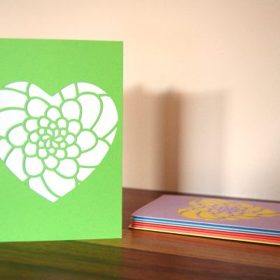 Mini Flower Heart Card in green and white