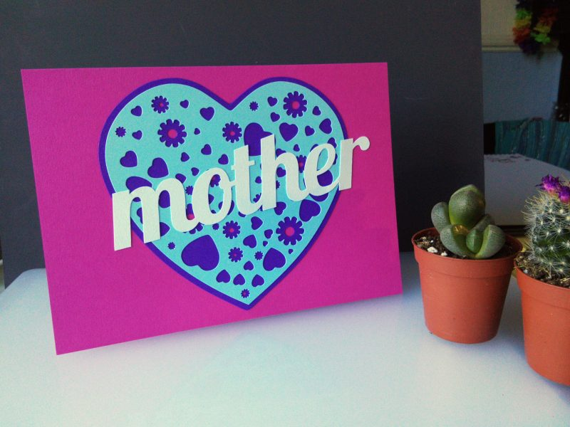 A Card for your Mam in pink and pastel blue customised to read Mother