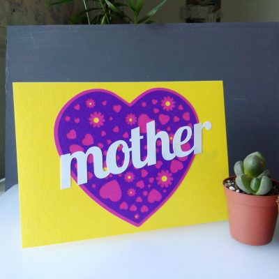 A Card for your Mam in yellow and purple customised to read mother