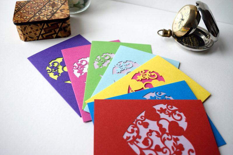 Mini Floral Vine Hearts Cards in a range of colours, purple, pink, green, pastel blue, yellow, ocean blue and red pictured.