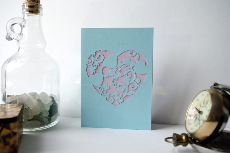 Mini Floral Vine Hearts Card in pastel blue and lilac