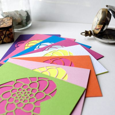 Mini Flower Heart Cards in a range of colours, green, pastel pink, orange, white, pink, ocean blue, purple.