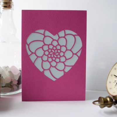 Mini Flower Heart Card in pink and white