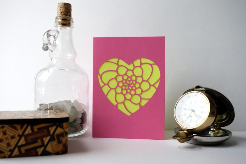 Mini Flower Heart Card in pink and yellow.