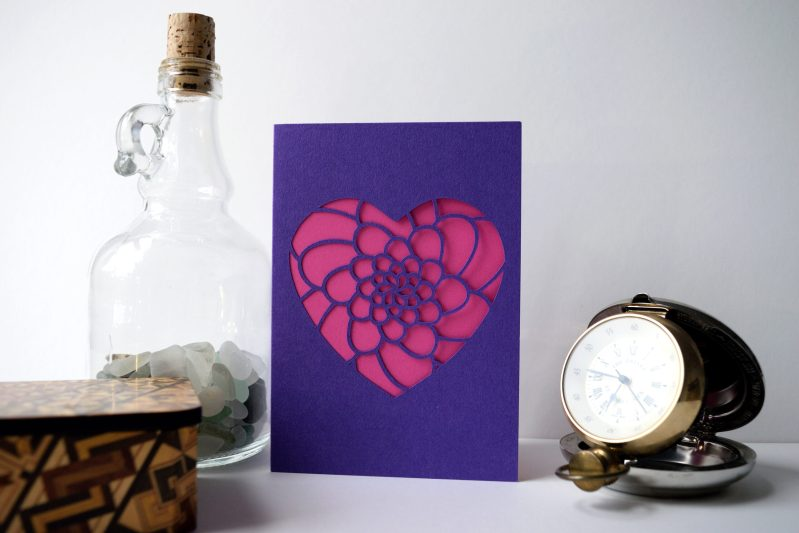Mini Flower Heart Card in purple and pink