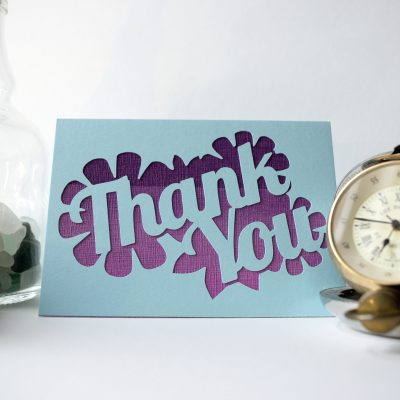 Thank You card in pastel blue with purple patterned paper.
