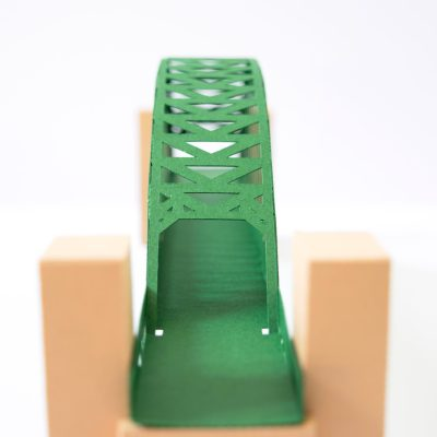 Tyne Bridge Activity Kit using green and tan card, picture from the side for arch details.