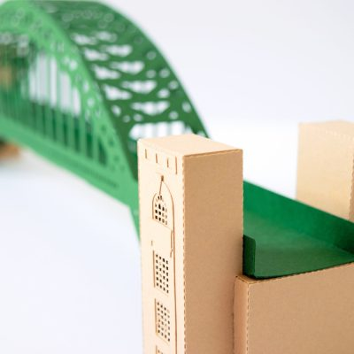 Tyne Bridge Activity Kit using green and tan card, picture from the side to show tower details.
