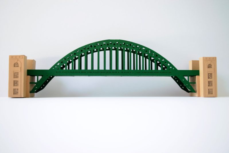 Tyne Bridge Activity Kit using green and tan card, picture from the front.