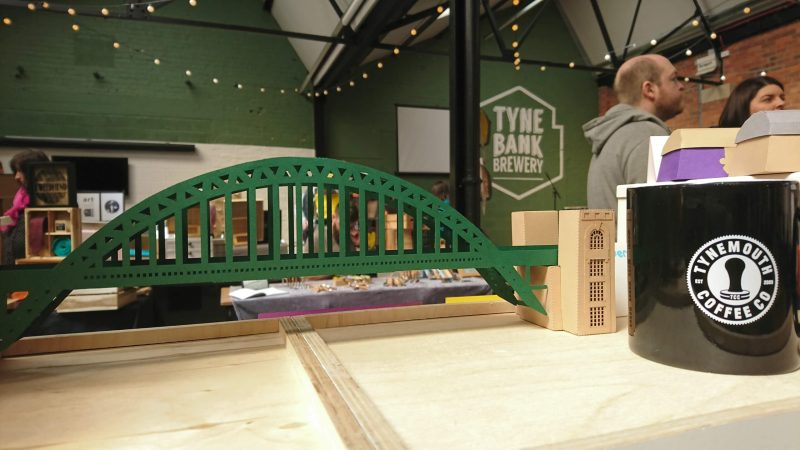 Tyne Bridge Activity Kit using green and tan card, picture from the front on display.
