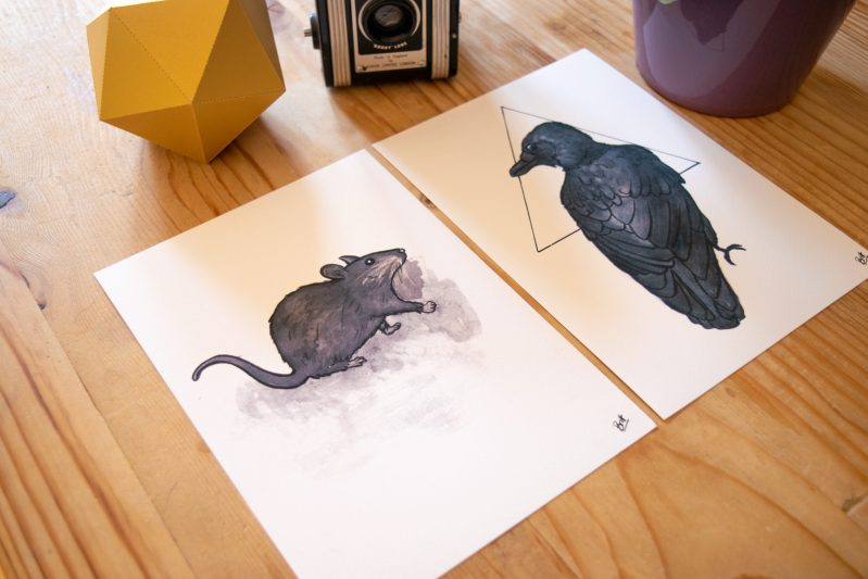 Crow and Little Rat Prints on display