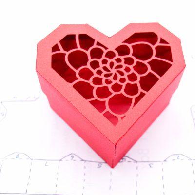 Heart Gift Box, red camellia flower design