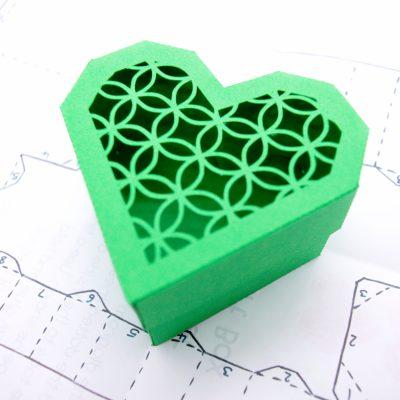 Heart Gift Box, green lattice design