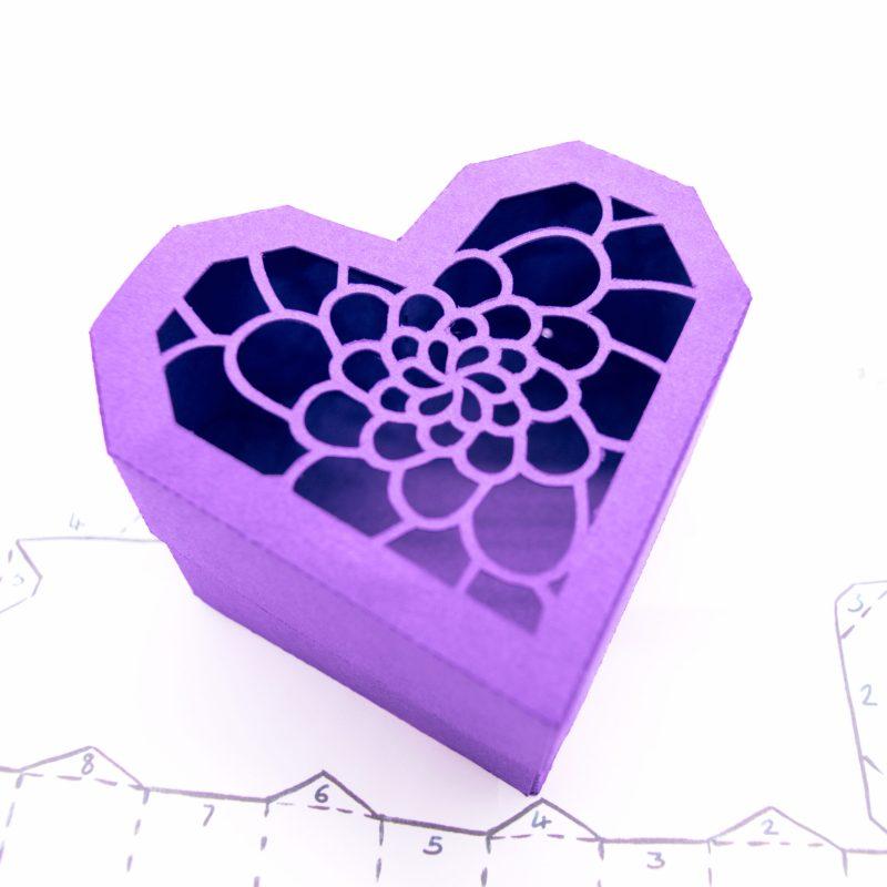 Heart Gift Box, indigo camellia flower design