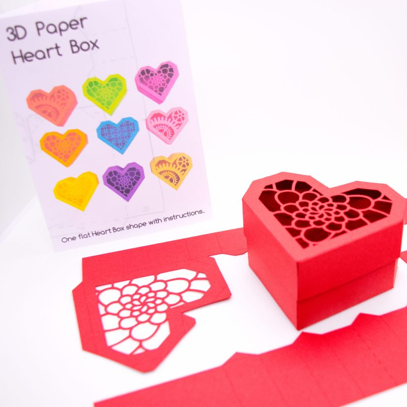 Heart Gift Box, red camellia flower design with flat version and instructions
