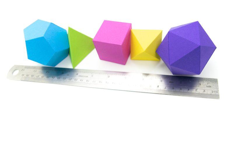 Platonic Solids colourful 3d paper activity kit