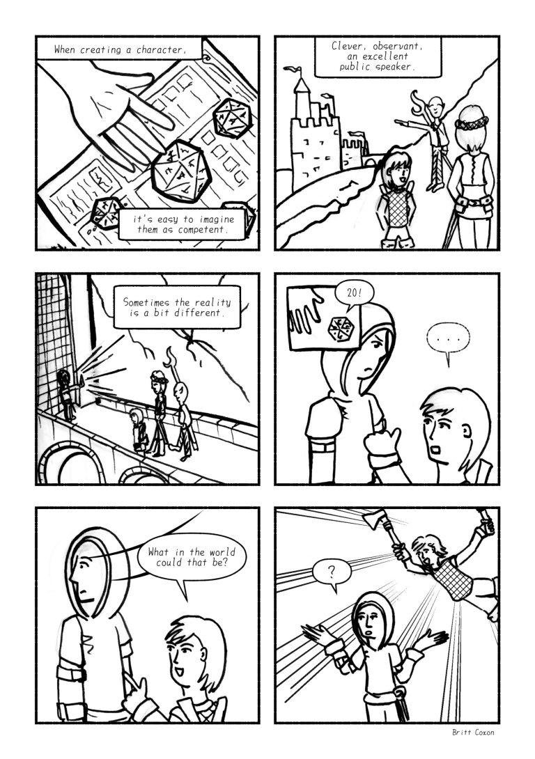 A comic about creating competent characters told using a tabletop RPG setting, the story could also apply to writing characters for comics etc.