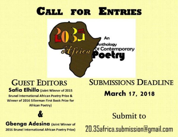 "Opportunity for Poets | Submit to ""20.35 Africa: An Anthology of Contemporary Poetry,"" Guest-Edited by Safia Elhillo and Gbenga Adesina"