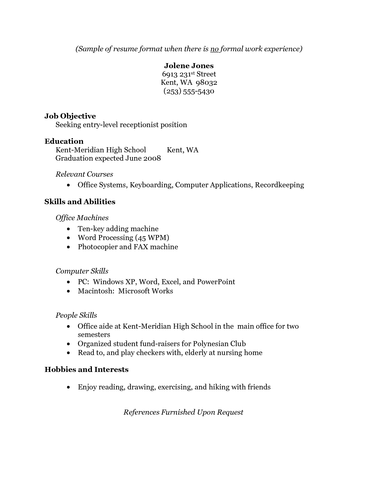 Resume With No Work Experience Samples Brittney Taylor