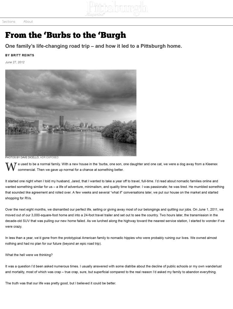 Pittsburgh magazine screenshot