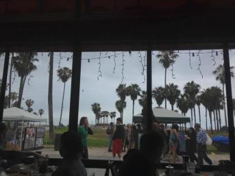 Eating lunch at a beach cafe on Venice Beach in Southern Cali.